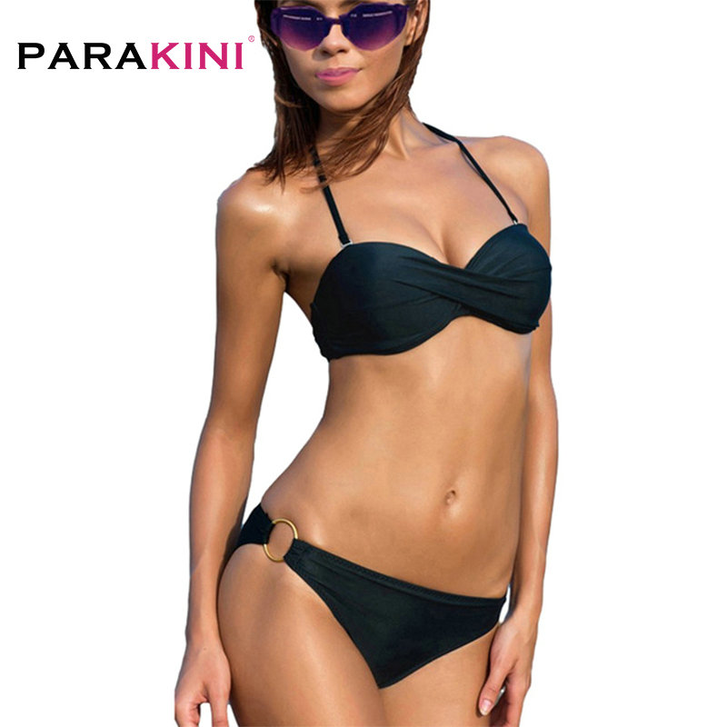 PARAKINI 2017 Summer Sexy Push Up Bikinis Set Women Swimwear Occidental Secret Bathing Suit Swimsuit Steel Ring Biquini Tankini