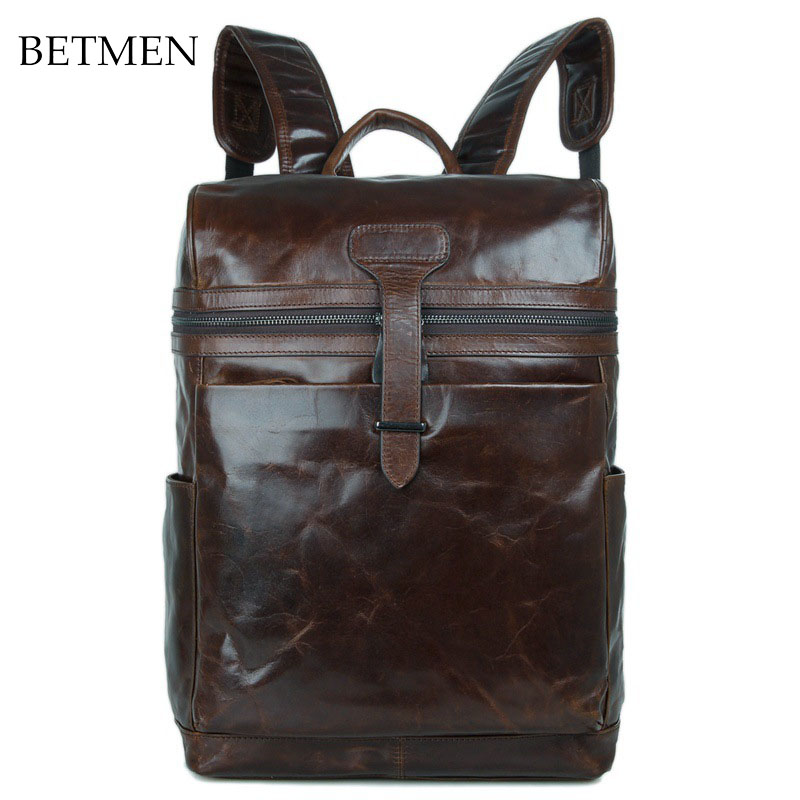 BETMEN Vintage Luxury Men Backpack Genuine Leather Bag Male Large Capacity Casual Brand Backpacks brand double zipper genuine leather men wallets with phone bag vintage long clutch male purses large capacity new men s wallets