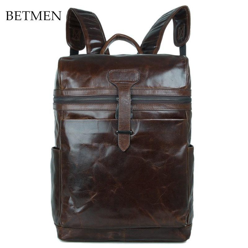 BETMEN Vintage Luxury Men Backpack Genuine Leather Bag Male Large Capacity Casual Brand Backpacks luxury brand vintage casual 100 page 5