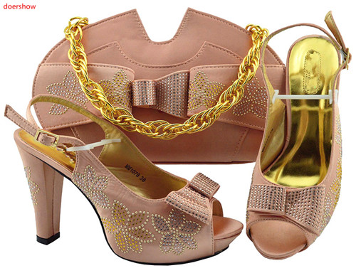 doershow nice  peach Shoes and Bags To Match Set Sale Shoes and Bags low Heel Sandals Women Italian African Party Pumps!HLN1-11doershow nice  peach Shoes and Bags To Match Set Sale Shoes and Bags low Heel Sandals Women Italian African Party Pumps!HLN1-11