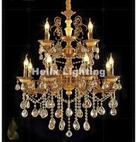 European E14 Crystal Chandelier Bronze Color Living Room lustres Decoration Pendants AC Chandeliers Crystal Home Indoor Lighting