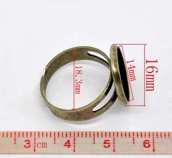free shipping!!!!! Bronze Tone Semi-Precious Gemstone Ring Setting 14mm base