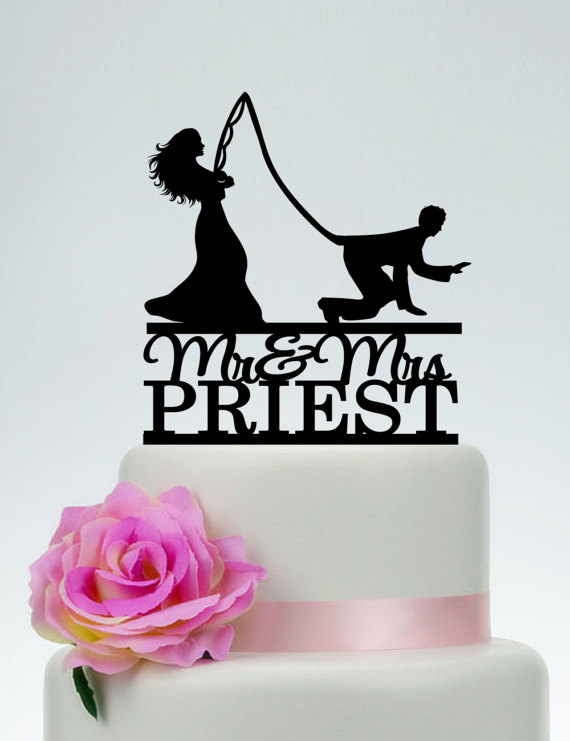 Funny Cake Topper,Custom Fishing Cake Topper,Mr and Mrs Cake Topper With Last Name, Outdoor Gone Fishing Wedding Cake Topper