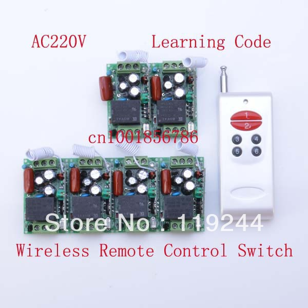 Free Shipping 220V 1CH 315/433Mhz Radio RF Wireless Remote Control Switch System 6 Receiver& transmitter Learning Code mini size new rf wireless switch wireless remote control system 2transmitter 12receiver 1ch toggle momentary latched learning code 315 433