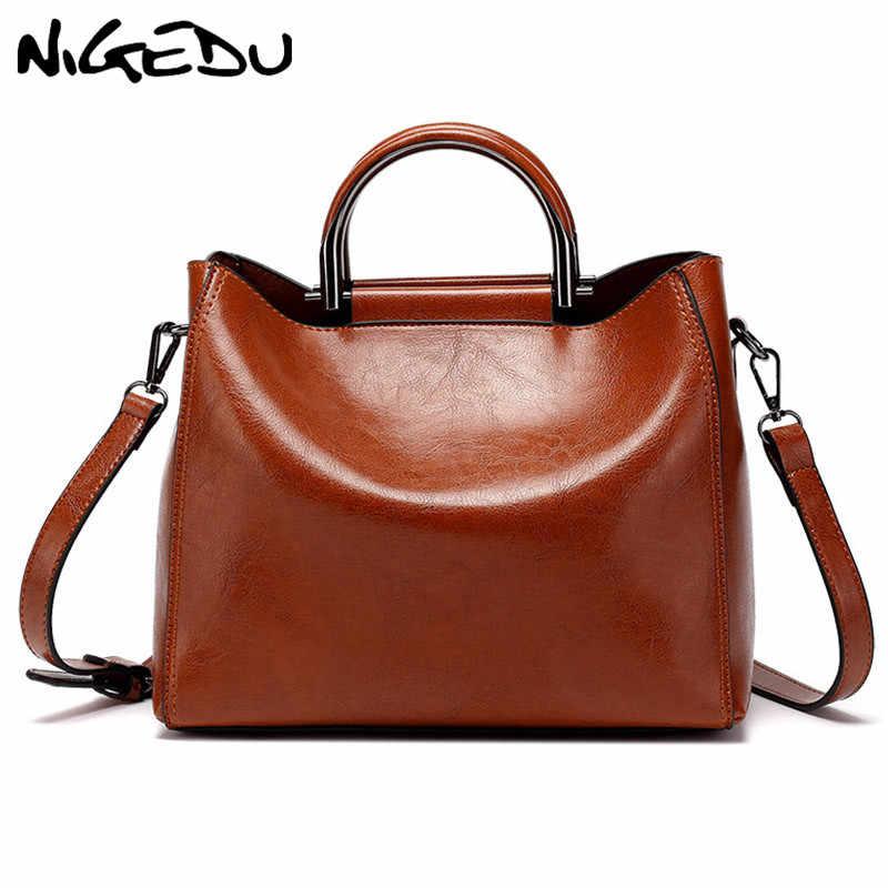 2ae9f1b3f NIGEDU Soft oil wax leather woman handbag tote crossbody bag for women  Shoulder bag Elegant ladies