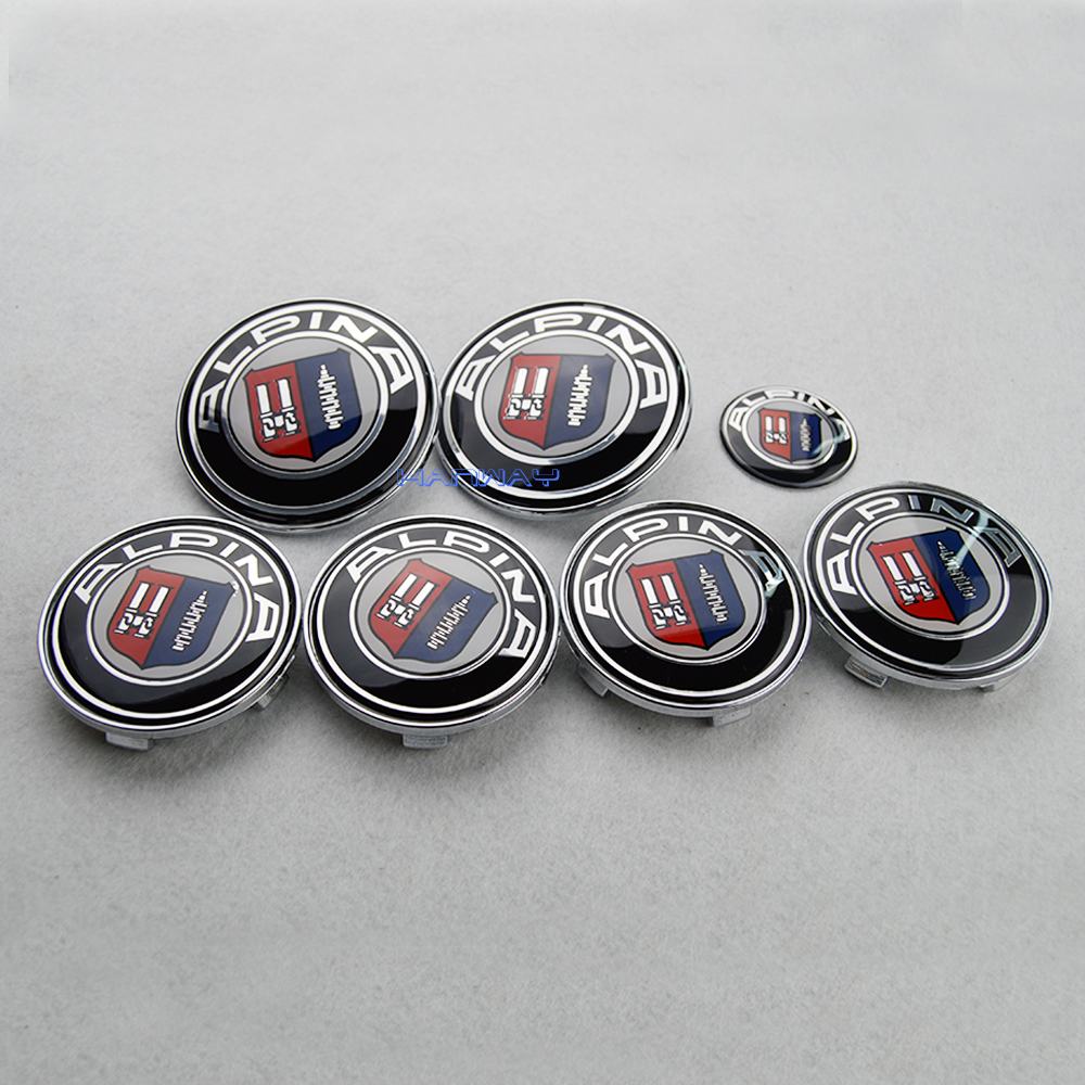 7pcs/lot For ALPINA Front Bonnet Emblem Car Steering Wheel Cap Wheel Hub Cap Head Hood Logo Badge/Trunk Emblem Cover for bmw