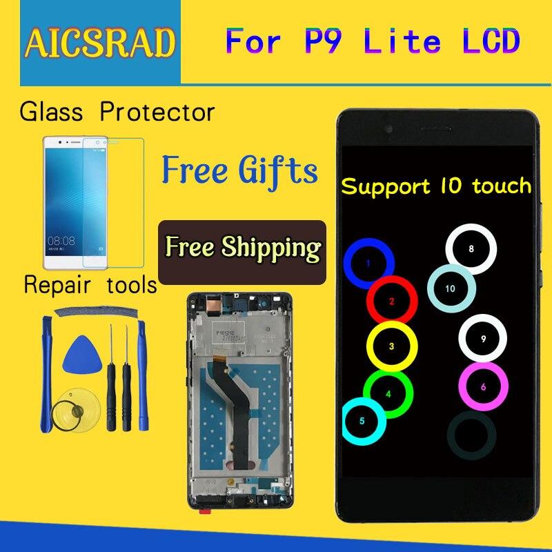 Para Huawei P9 Lite VNS-L21 VNS-L22 VNS-L23 VNS-L31 VNS-L53 Display LCD + Touch screen Substituição Digitador Assembléia Com Frame