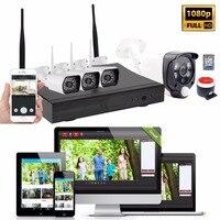 1080 P 4CH Wi Fi Камеры NVR комплект Беспроводной дома охранной сигнализации Системы двери охранной ПИР обнаружения движения CCTV видео монитор 1tbhdd