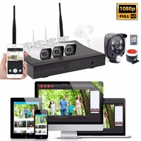 1080P 4CH WiFi Cameras NVR Kit Wireless Home Security Alarm System Door Intruder PIR Motion Detection