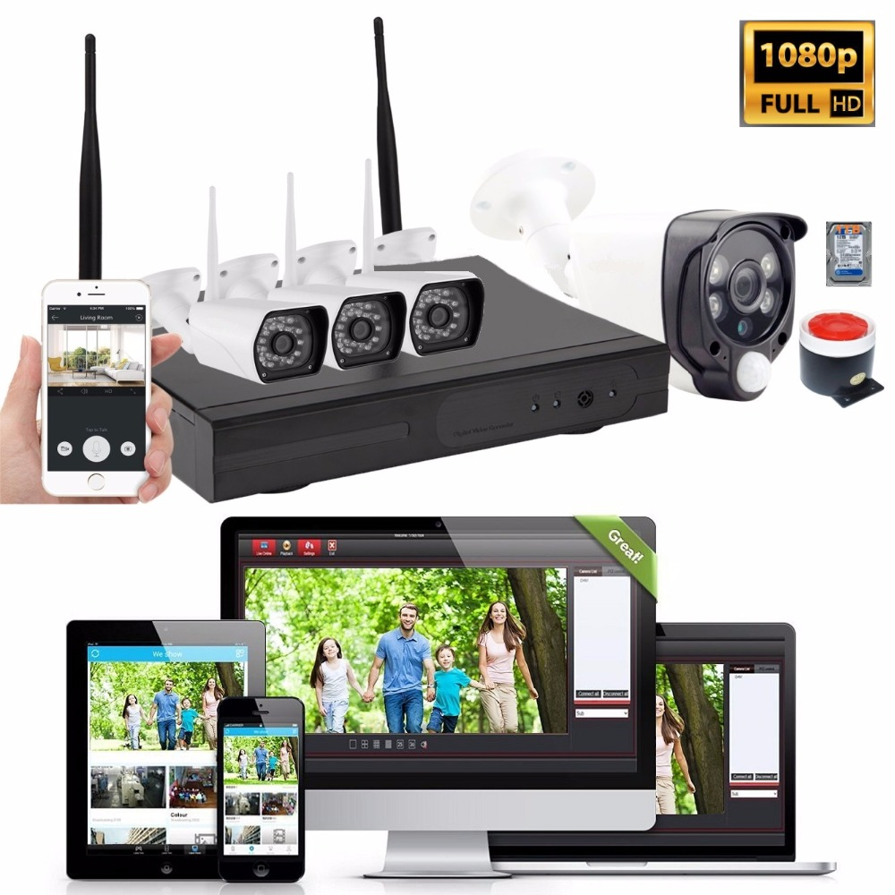 1080P 4CH WiFi Cameras NVR Kit Wireless Home Security Alarm System Door Intruder PIR Motion Detection CCTV Video Monitor 1TBHDD xinfi 4ch wifi cctv system 1080p wifi nvr network video recorder 720p wifi hd home security poe camera system cctv kit