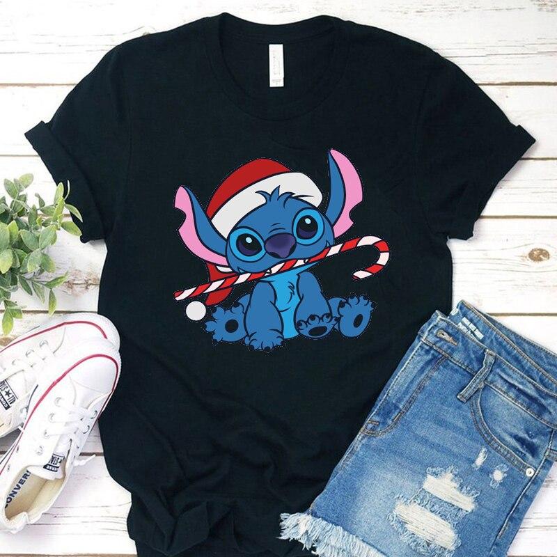 Summer Aesthetic Vintage Hot Cartoon Kawaii Pokemon Lilo Stitch Women T-Shirt Christmas Casual Print Clothes Tops Harajuku Tees