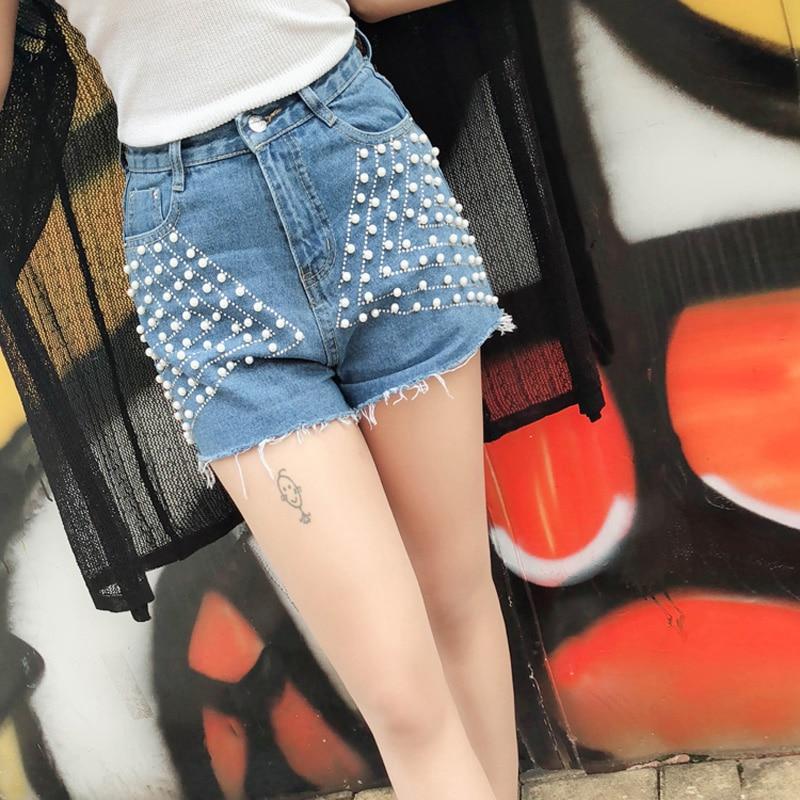 100% QualitäT Sommer Koreanische Streetwear Perle Denim Shorts Frauen Kurze Jean Beiläufige Kurze Hosen Hohe Taille Sexy Weibliche Shorts 2018 Gute Qualität