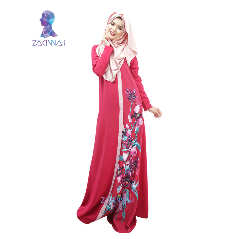026 New style in dubai women flower print robe spliced robe muslim dress women clothing robe turkish abaya vestidos musulmanes in Islamic Clothing from Novelty Special Use