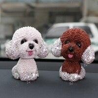 New Crystal Car Ornaments Cute Shaking Head Nodding Dog Puppy Figurines Bobblehead Dog Doll Toys Car Interior Decoration Gifts