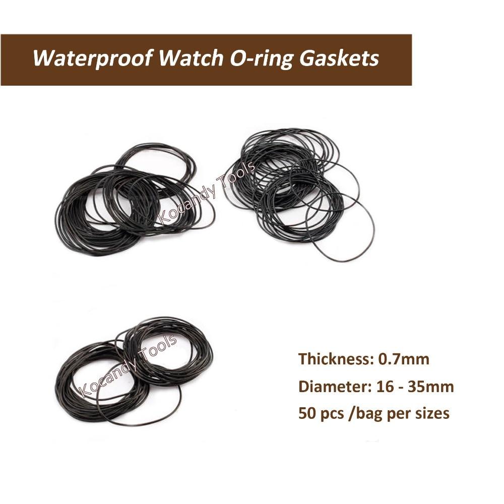 0,7mm Dicke O Ring Gummi Dichtung Scheiben Wasserdichte Runde Uhr Dichtungen Durchmesser 16mm-35mm 50 Pcs Pro Größe Schrumpffrei