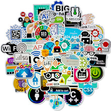 50 PCS Cool Programming Stickers Logo Internet Software Sticker Funny Gift for Geeks Hackers Developers to DIY Laptop Phone