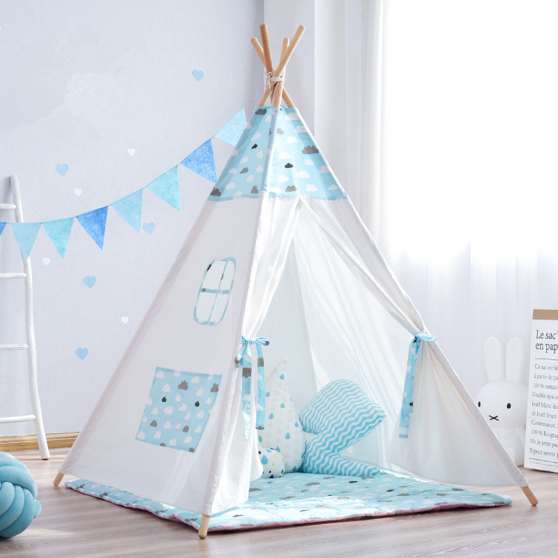 Durable Thick Canvas Clouds Kids Indian Play Teepee Tent Children Tipi Indoor Tent pink clouds teepee tent indoor childrens play tipi