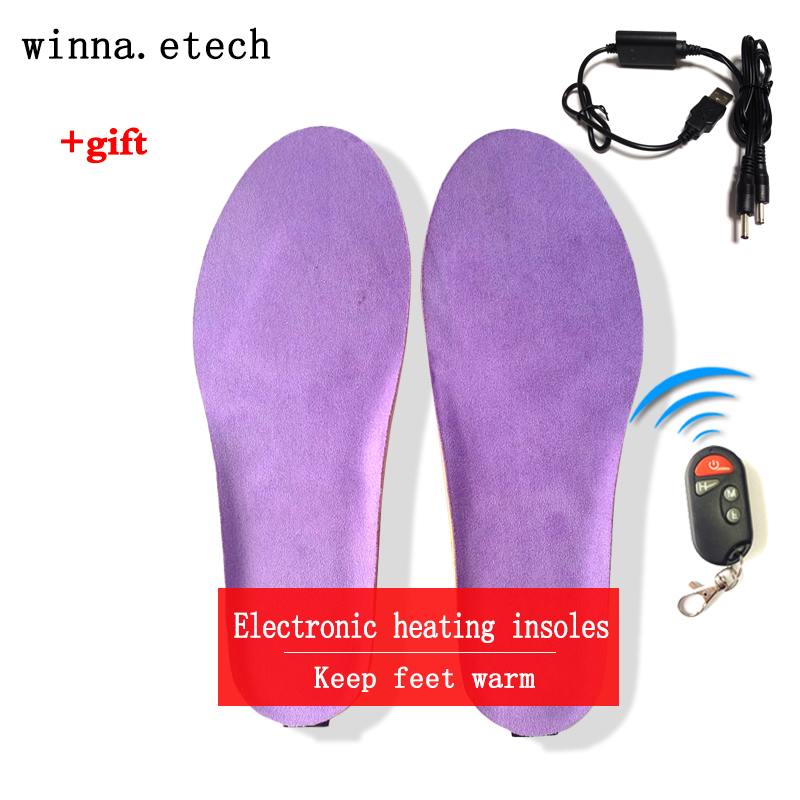 2017 new winter heating insoles with wireless remote control insoles woman insoles camping ski shoes insoles size EUR 41-46#