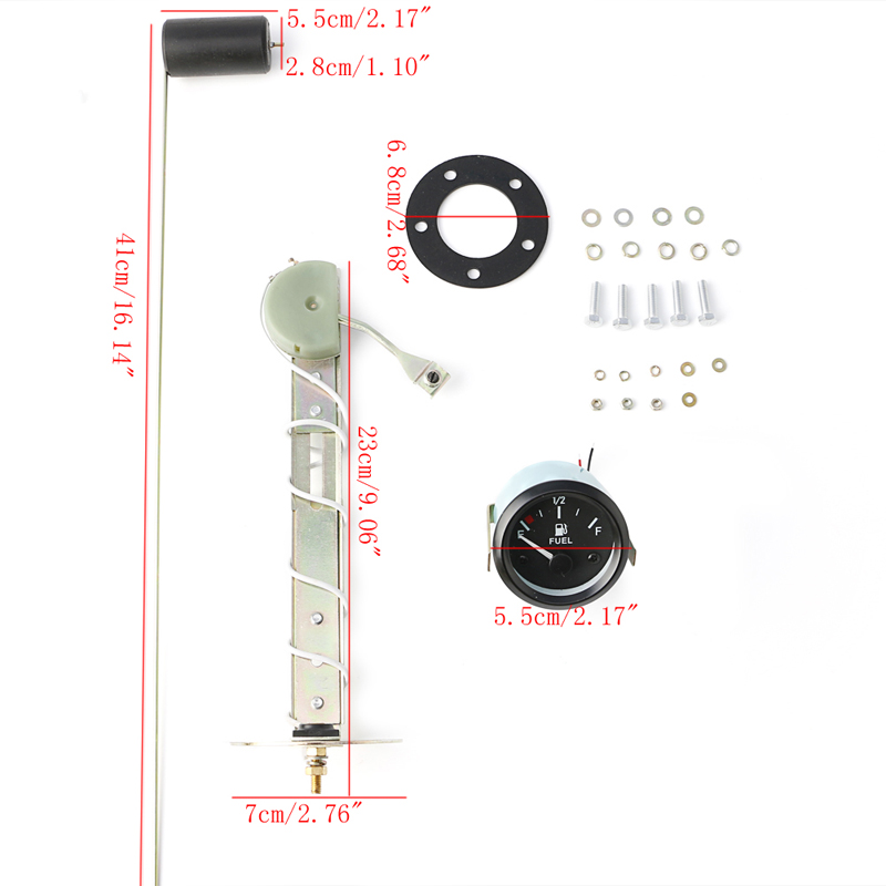 "Universal 2/"" 52mm Car 12V Fuel Level Gauge Sensor E-1//2-F Pointer"
