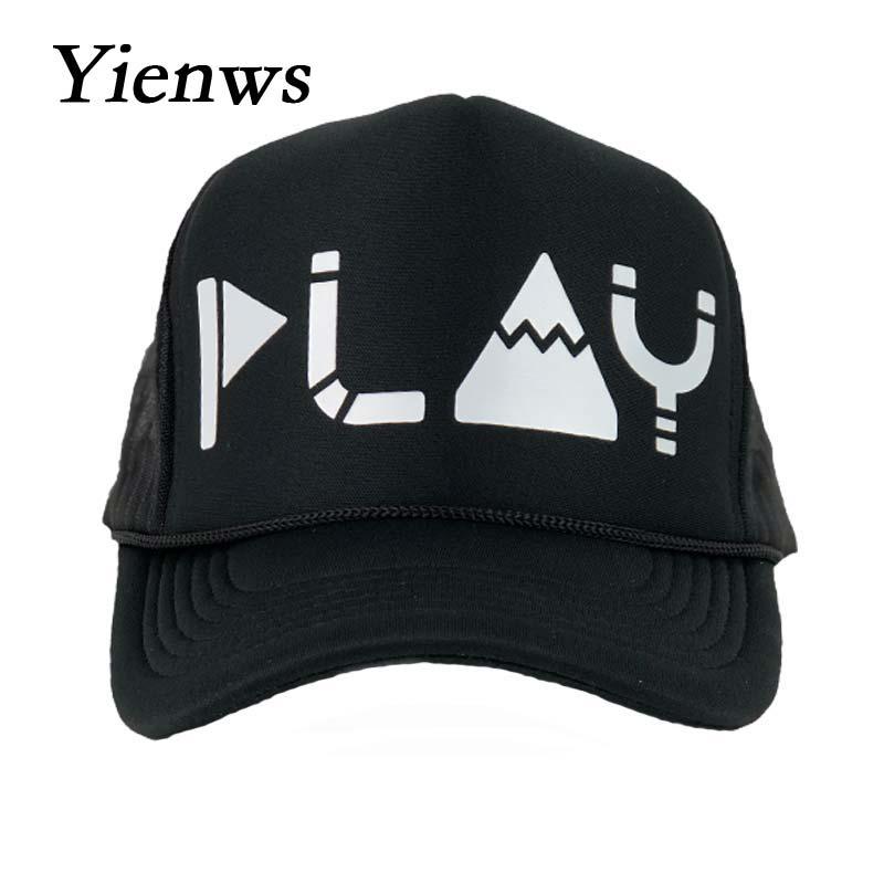 Yienws Dad Hats for Men Black Curve Mesh Baseball Cap Man Bone Trucker Hats  Couple Kpop PLAY Net Summer Cap High Quality YIC069-in Baseball Caps from  ... 66bc30dd46c7