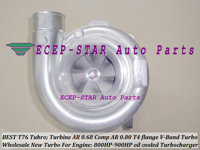 Turbocharger Turbo only oil cooled T76 Turbine AR 0.68 Comp AR 0.80 800HP-900HP T4 Turbo charger T4 flange V-Band (6)