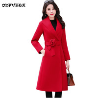 2019 Winter Woolen Coat Female Popular Woolen Outwear Thick Warmth Slim Mid length Over Knee Red New elegant Parkas Women's Coat