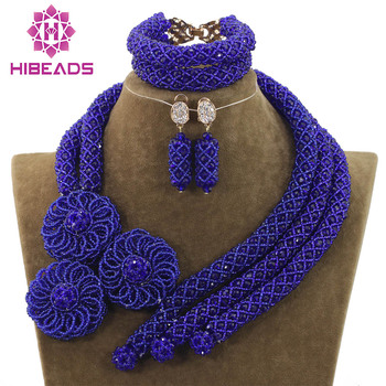 Best Selling Royal Blue Crystal Bridal Nigerian Beads Jewelry Sets Flowers Chunky African Blue Beads Jewelry Free Shipping WD926