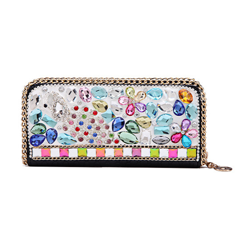 Luxury rhinestone women wallets high quality PU leather wallet lady fashion clutch bag casual purses party carteras female 2018