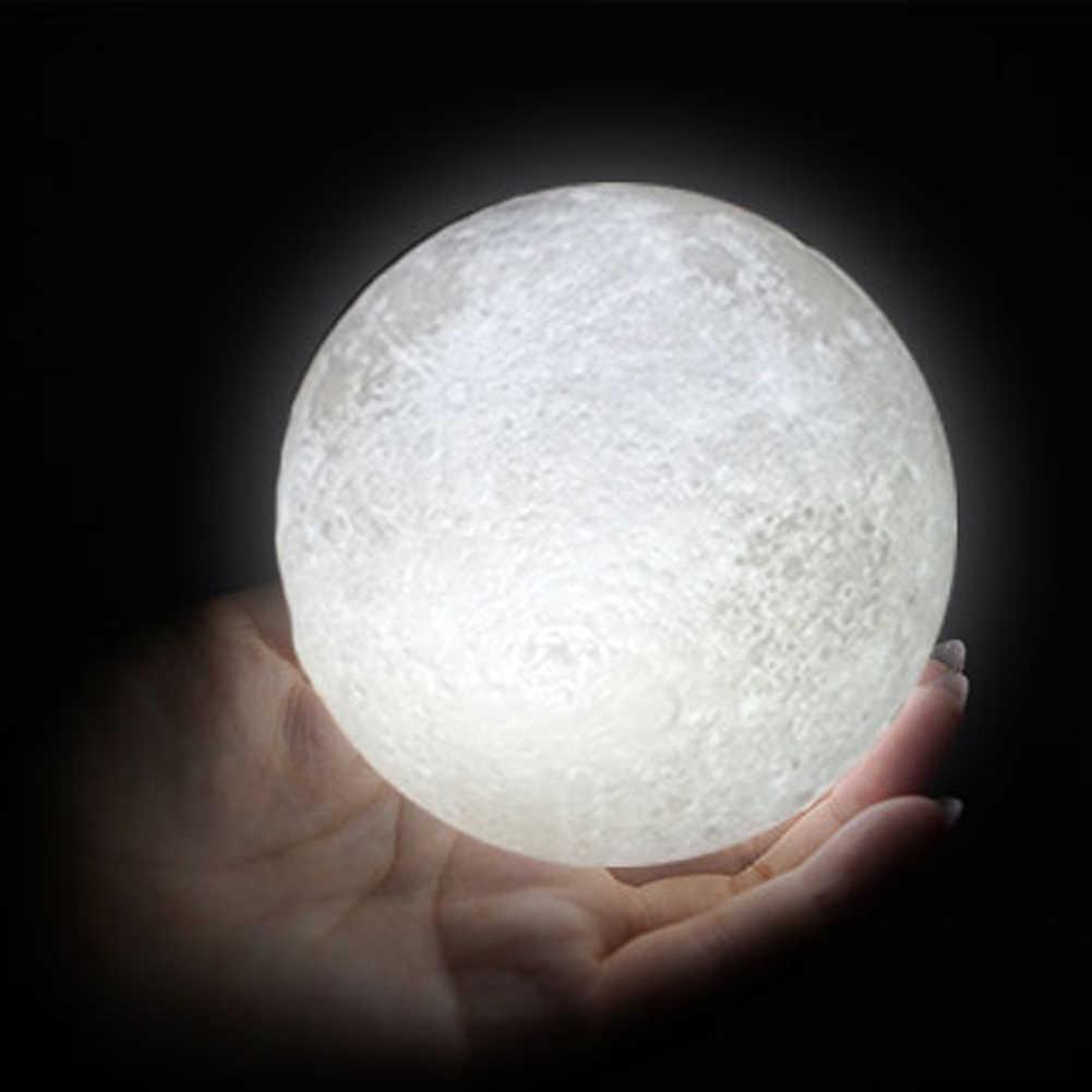 Перезаряжаемые светодиодный ночной Светильник луна лампа 3D печать Луны светильник Луна Спальня домашний декор 2/3/7 цветов изменить сенсорный переключатель подарок на день рождения