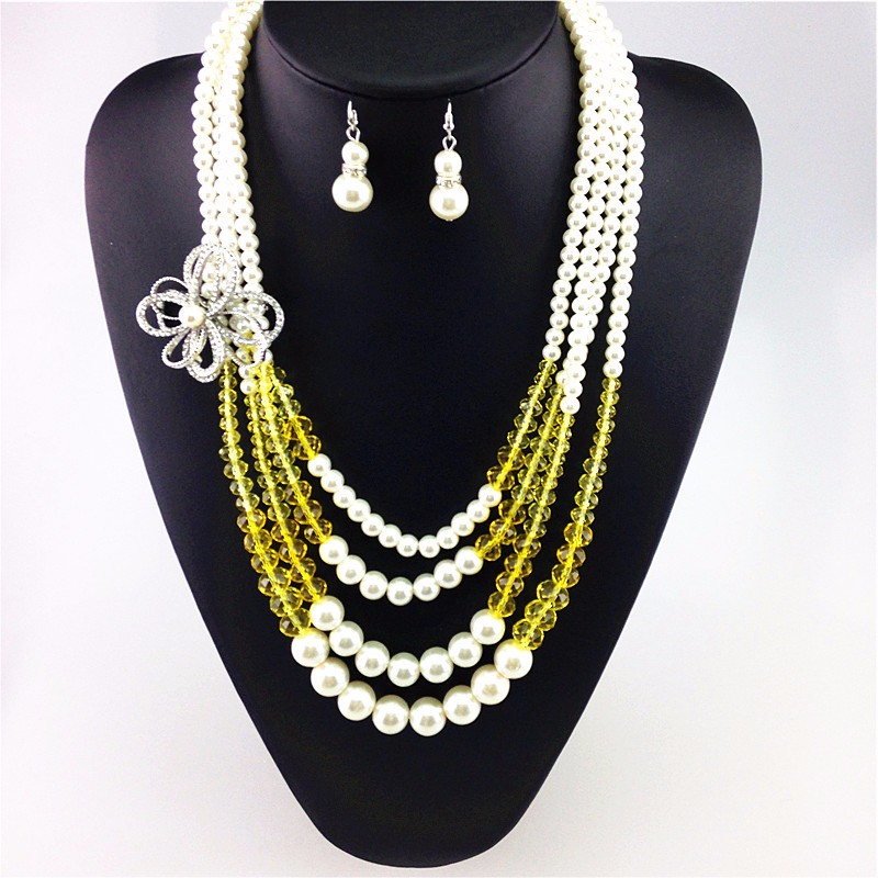 jewelry set simulated double pearl earrings for women statement necklace sets long neklace crystal jewelry sieraden sets