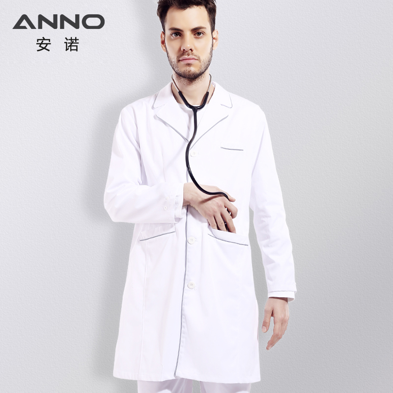 ANNO White Medical Doctors Laborkittel für Frauen Männer Cotton Nurse Coat Langarm Arzt Uniform Medical Clothing Out Wear
