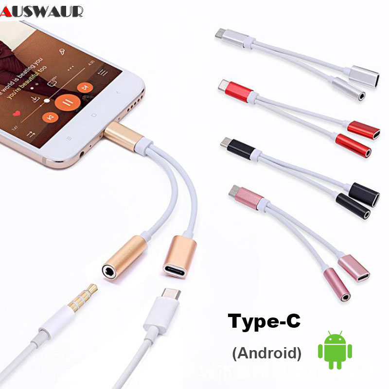 Type-C To Type C 3.5mm Aux Jack Charging Audio Adapter 2 In 1 Splitter Adapter For Huawei P30 Pro  Xiaomi Mi 8 6 5X Samsung S10