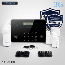 HOMSECUR Wireless&Wired LCD 3G/WCDMA RFID Home Alarm System+4*PIR+Door Sensor  LC03-3G