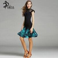 Adult 2 Pieces Latin Dance Dress Ballroom Salsa Dance Costumes Leotard Tops Skirts For Women Short