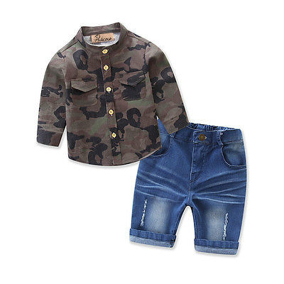 Kids Long Sleeve Baby Boy Camouflage T-shirt Shirt Tops+Blue Jeans Shorts 2pcs Outfits Clothes Set Summer Children Clothing 1-7Y kids baby boy long sleeve gentleman t shirt tops long pants 2pcs outfits clothing set hot