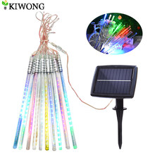 Solar Meteor Shower Rain Lights 10 Tube 200 LEDs Outdoor Christmas String light Waterproof Decoration Lighting for Wedding Party(China)