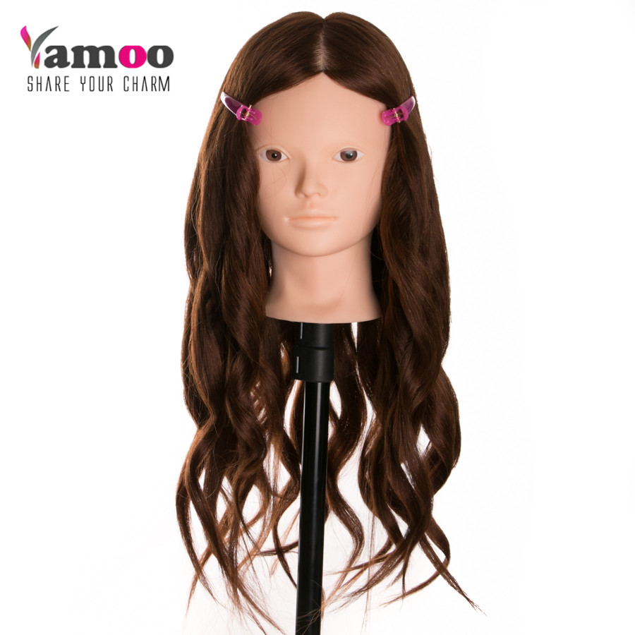 Grande vente pas de maquillage tête de coiffure professionnelle avec des têtes de perruque de cheveux épais pour les coiffeurs tête d'entraînement belle tête de Mannequin