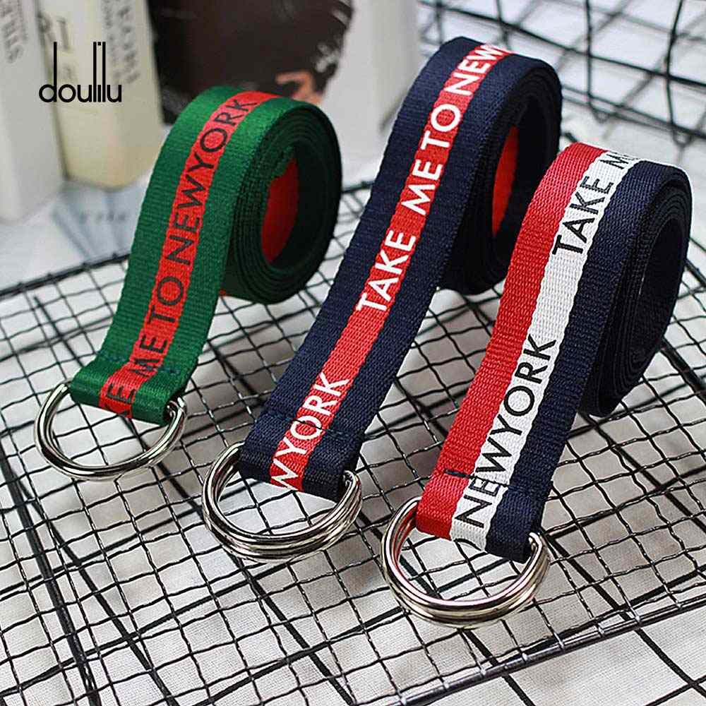 130cm Female Belt Canvas Printing English  D Fashion Neutral Nylon Ring Double Buckle Student Women's Belt