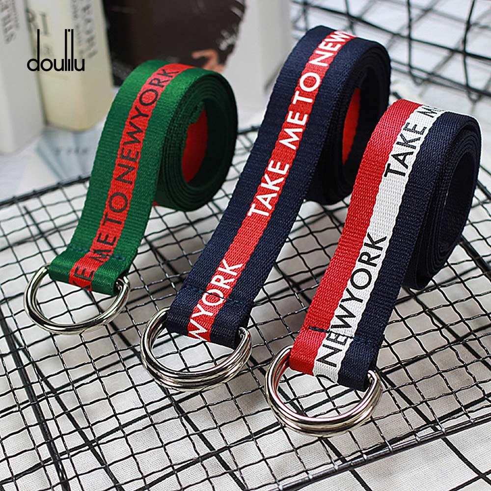 130 cm cinturón mujer/cinturón de lona de impresión inglés D moda Neutral de Nylon de doble anillo hebilla estudiante mujeres cinturón de