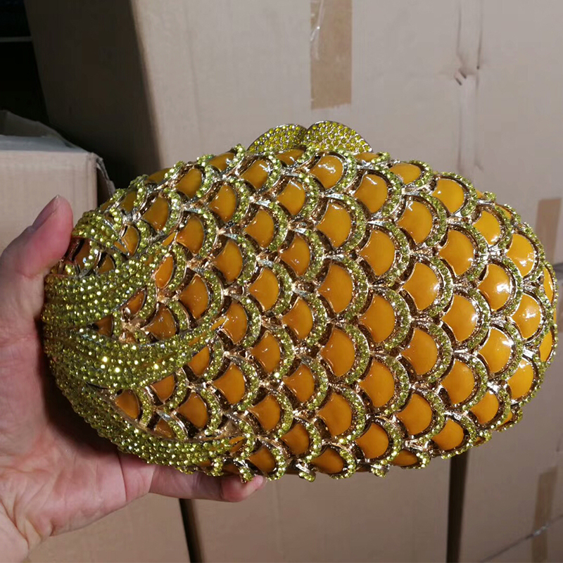 цена на XIYUAN BRAND pineapple shape red/yellow Crystal Women Evening Purse Metal Clutch Bag Wedding Dinner Minaudiere Handbag wallet
