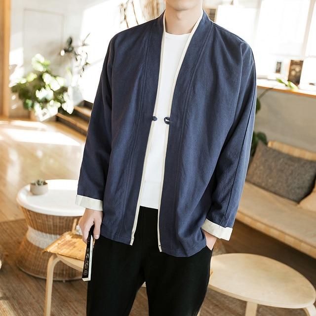 Chinese Style Men Jacket Plus Size 5XL Spring Jacket Men Cardigan Style V Neck Loose Windbreaker Long Sleeve Casual Coats Men