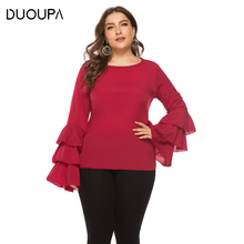 DUOUPA Large Size Womens 2019 Spring New Loose Shirt T-shirt Solid Color Lotus Leaf Sleeve Round Neck