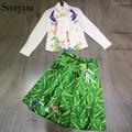 2017 Summer New Runway Designer Twinset Outfit Women's Chiffon Flowers Animal Printing Shirt + Half Skirt Skirt Suits