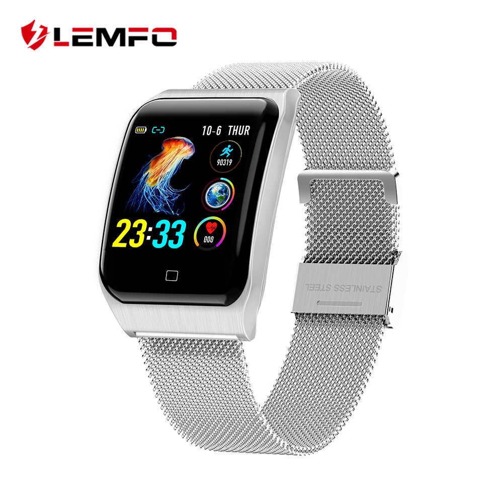 LEMFO F9 Smart Watch Men IP68 Waterproof Steel Case Strap Heart Rate Blood Pressure Monitor 200Mah Battery Sport Smartwatch