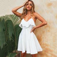 Beach Women Summer Dress 2019 Ruffles Dress Spaghetti Strap Sexy Dresses Backless Lady Short Mini Vestidos White Sundress Female