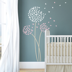 Butterfly Dandelion Wall Decals  Available in 3 patterns Nursery Wall Stickers Removable Art Decal Home Decor Living Room ZA323