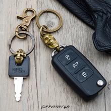 Skeleton keychain brass handmade key chain gold fashion ring HandBag Pendant