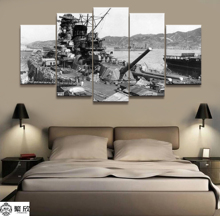 5 Panel Japanese Battleship Yamato War Weapon Poster Printed Painting For Living Room Wall Art Decor  Picture Artworks Poster 4 panel military uss missouri navy war weapon poster printed painting for living room wall art decor picture artworks poster