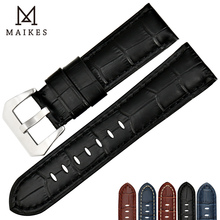 MAIKES Hot Selling For Dropshipping Cow Leather Watch Strap 22mm 24mm 26m Accessories Watchband Panerai Band
