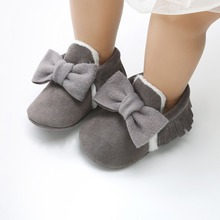 Newborn Bowknot Tassel Soft Soled Snow Boots Winter Warm Infant Toddler Bebe Shoes 0-18M Baby Moccasins